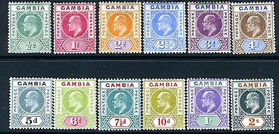 GAMBIA-1904-6 ½d to 2/-.  A lightly mounted mint set of 12 Sg 57-68