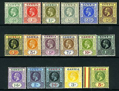 GAMBIA-1912-22 ½d to 5/-.  A superb unmounted mint set of 17 Sg 86-102