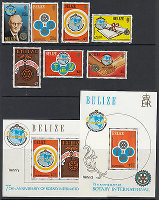 BELIZE :1981 75th Anniversary of Rotary International set+MS SG606-12+MS613 mint