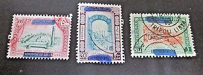 Libya 1965 Kingdom Blotted Out(Noted In Scott) Complete(3 Values) Fine Used
