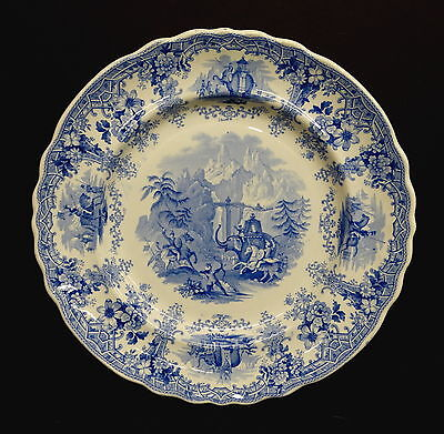 Blue Staffordshire Plate, Hannibal Passing the Alps, Knight, Elkin & Co c1830