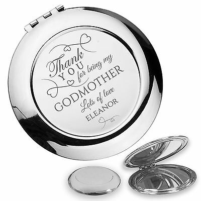 Personalised engraved GODMOTHER compact mirror christening baptism gift - GODM1