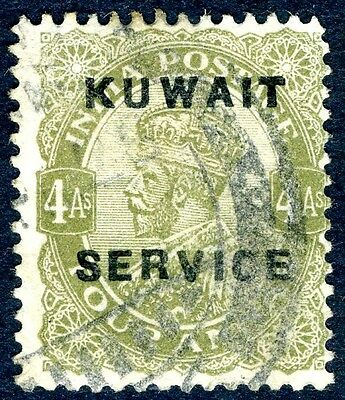 KUWAIT-1923-4  4a  Olive Green Official Sg 08 GOOD  USED V14031