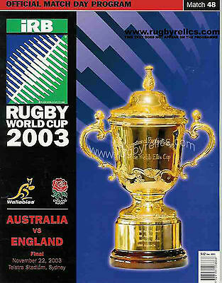 AUSTRALIA v ENGLAND RUGBY WORLD CUP FINAL 2003 OFFICIAL ORIGINAL PROGRAMME + COA