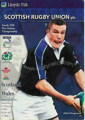 SCOTLAND v WALES 1999 RUGBY PROGRAMME 6 Feb at MURRAYFIELD
