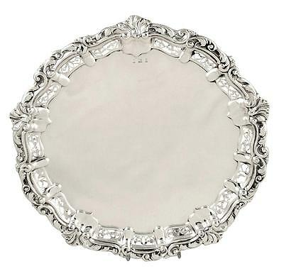 "Antique Edwardian Pierced Sterling Silver 10"" Tray/salver - 1904"