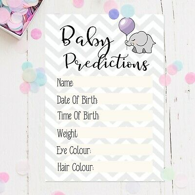 Baby Shower Party Prediction Cards Game Keepsakes Boy / Girl / Unisex