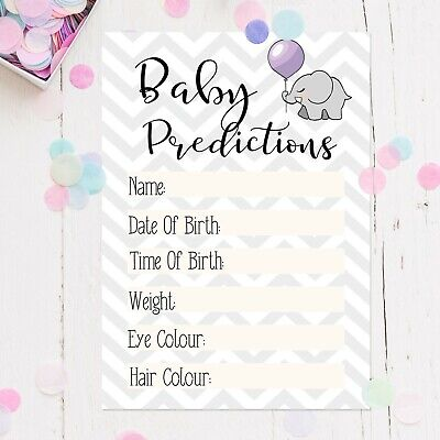 x15/30 Baby Shower Prediction Game Cards Keepsakes Girl Boy Neutral Party Games