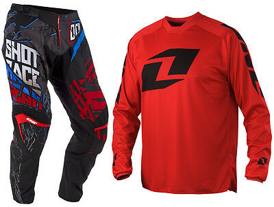 SHOT CONTACT MOTOCROSS MX KIT PANTS BLOCK BLACK BLUE RED with ICON RED JERSEY