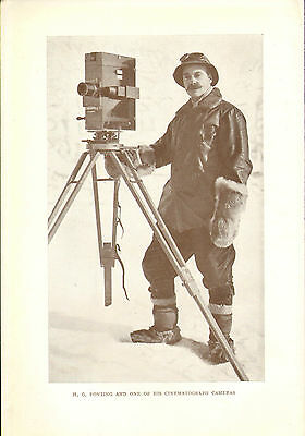 scotts last expedition 1913 plate -  h.g. ponting with a cinematograph camera