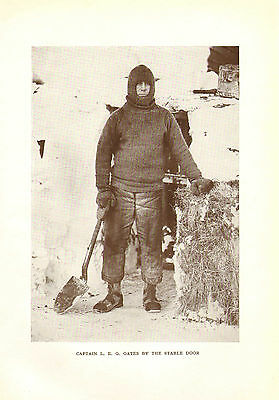 scotts last expedition 1913 plate -  captain l.e.g.  oates by the stable door