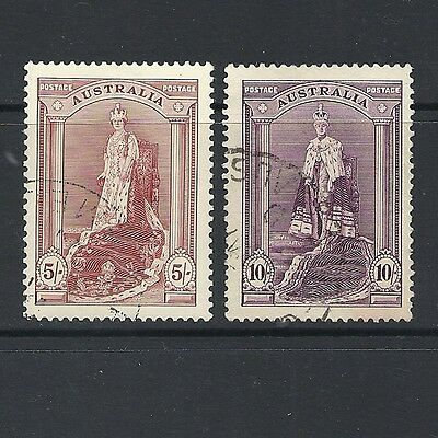 1937 King George VI SG176a & SG177 5s & 10s Purple Royal PortraitsUsed AUSTRALIA