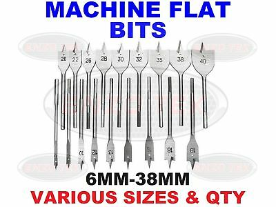 Machine Flat Wood Drill Bits - Sizes 6mm-38mm Spade Bit Wallated High Quality