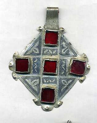 "Morocco - Ancient silver pendant, niello and cabochons with glass beads of ""Ida"