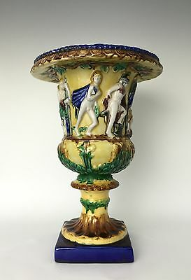 Majolica Faience Jardiniere Planter Urn Neoclassical Roman Figures