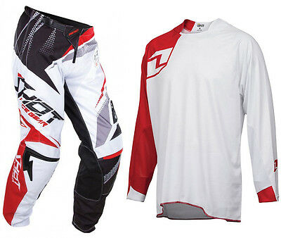 SHOT CONTACT MOTOCROSS MX KIT ENDURO MAGNETIC RED PANTS with SOLID VAPOR JERSEY
