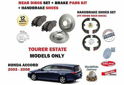 For Honda Accord Estate Tourer 2003-2008 Rear Brake Discs Set + Pads + Shoes Kit