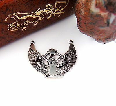 CLOSEOUT Antique Silver SILVER ISIS Sun Egyptian Winged Goddess Stamping (D)