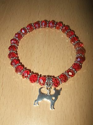 Handmade Chihuahua Dog Glass Beaded Bracelet Red AB with Charm Puppy Elastic