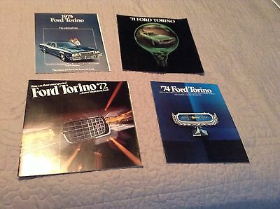 Lot Of 4 Vintage Ford Torino Auto Brochures Catalogs '71 '72 '74 '75 Nice Shape