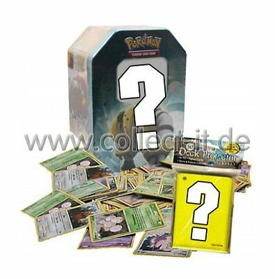 1 LEERE Pokemon Tin-Box + 100 gemischte Pokemonkarten + 50 Ultra Pro Sleeves