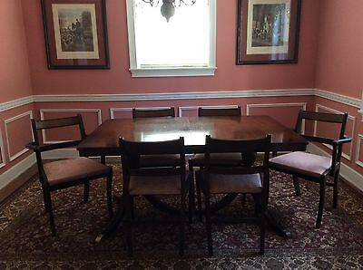 Antique Double Pedestal Brass Footed Dining Table and 6 Chairs, 1 leaf