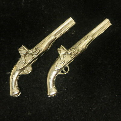 Vintage Pair Nickel Plated Brass Miniature Dual Pistols