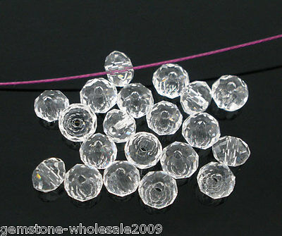 200PCS Wholesale Lots Clear Crystal Glass Faceted Rondelle Beads 4mm 50