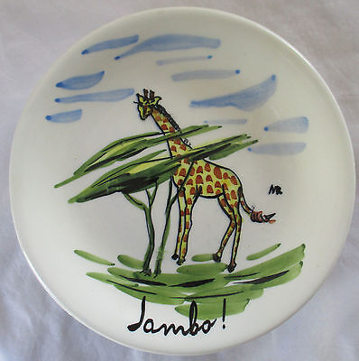 Tasca Italy Hand Painted African Wildlife Pottery Small Plate - Giraffe