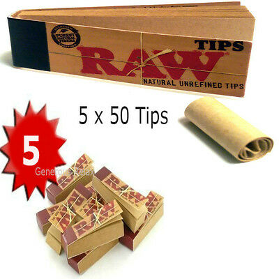 250 RAW Cigaratte Rolling Paper Roach Tips 5 Booklet Tobacco Roach Filter Tip