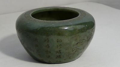 Antique Chinese Natural Nephrite Jade Hand Carved Brush Washer Qianlong Seal