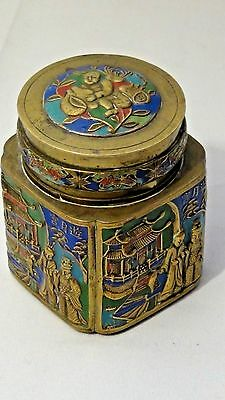 EARLY 20c CHINESE EXPERT ENAMEL CLOISONNE HIGH RELIEF CIGARETTE BOX, CASE BRONZE