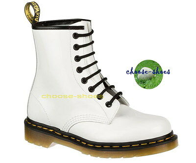 f868f9a9a39326 DR. MARTENS WHITE 1460 Rockabilly Unisex Boots Lace Up Leather Ankle ...
