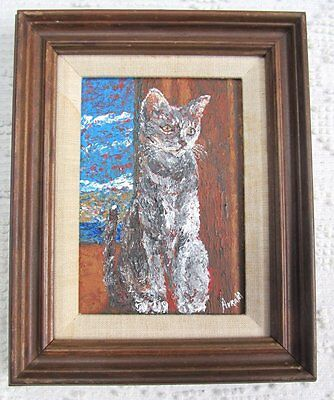 Miniature Modern Folk Art Style Gray Tabby Cat Painting Signed