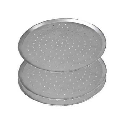 """3x Pizza Pan / Tray 460mm 18"""", Aluminium Perforated Plate, Round Oven Tray"""
