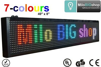 "LED Scrolling Sign RGB 7 Color Programmable message Display 40"" X 8"""