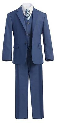 Boys Suit Wedding Graduation Formal Royal Blue Toddler Party Teen Kid Set Tie S