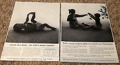 "Lot of 2 Carpet Vintage Print Ads Cute Baby ""Snug as a Bug..."" 1955 Christmas"