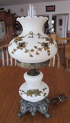 """Vintage Hurricane Cream Glass Lamp Antique Gold Embossed Floral 23"""" Tall EUC"""