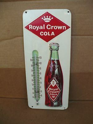 Vintage 1950's RC Cola Embossed Tin Litho Thermometer