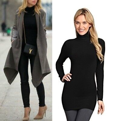 M-Rena High Quality Extra Soft Seamless Turtle Neck Long Sleeve Essential Top.