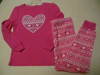 New LANDS/' END 3T Girls Fleece Snowflake 2 Pc PJ Pajama Set *NWT* Warm Winter