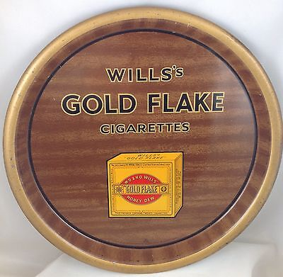 WILLS'S GOLD FLAKE CIGARETTES  METAL PUB SERVING TRAY c1933 ENGLAND
