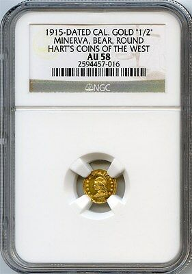 1915 Minerva California Gold 1/2 / Hart's Coins of the West / NGC AU58