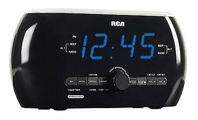RCA AM/FM Clock Radio With Motion Activated Light, Dual Alarm, Blue LED Display
