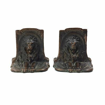 Vintage / Antique Lion Bookends - Solid Bronze Metal, circa 1925