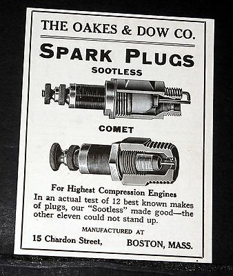 1913 Old Magazine Print Ad, The Oakes & Dow Co, Sootless & Comet Spark Plugs!