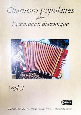 Acordeón diatónico Tablaturas Chansons popular v.3 con CD