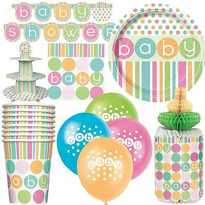 Pastel Polka Dot Baby Shower Unisex Boy Girl Party Tableware Decorations Games