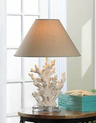 Ocean-Themed Sculpted Coral Branch Table Lamp Round Glass Base NIB White